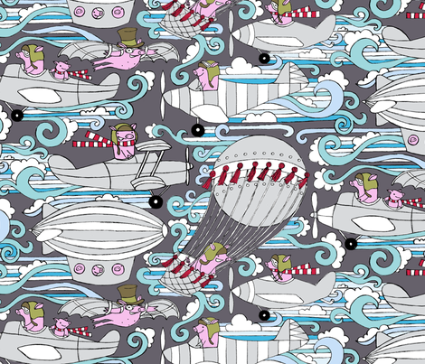 Pigs, They Fly fabric by sammyk on Spoonflower - custom fabric