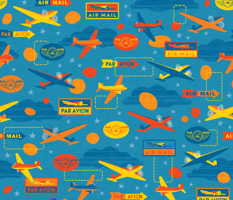 Par Avion fabric by jennartdesigns on Spoonflower - custom fabric
