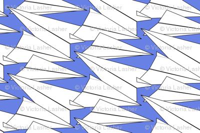 Hand-powered flight (paper planes) blue