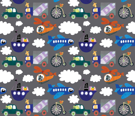 Transportation Zoo fabric by super_hoot on Spoonflower - custom fabric