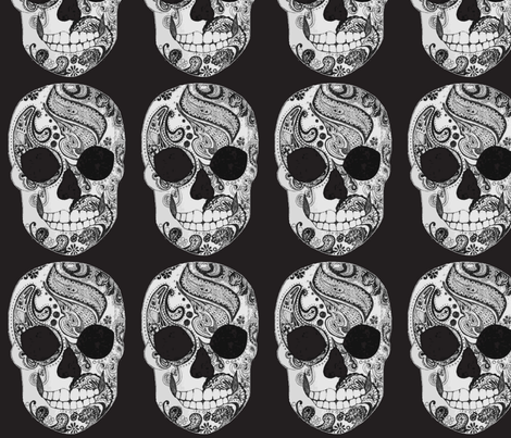 Paisley Skull in Black and White
