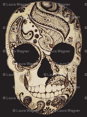 Paisley Skull in Sepia