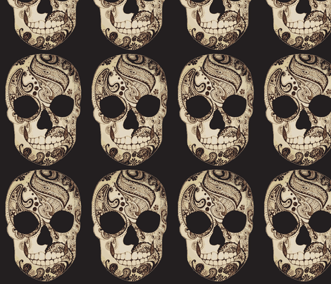 Paisley Skull in Sepia fabric by artemisisolde on Spoonflower - custom fabric