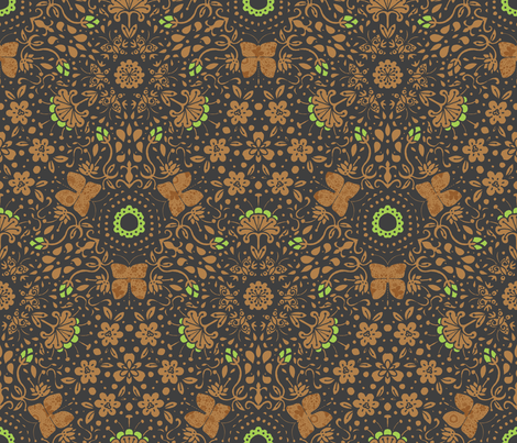Garden's Fury in Lime - © Lucinda Wei fabric by lucindawei on Spoonflower - custom fabric