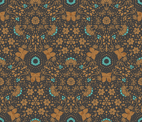 Garden's Fury in Aqua - © Lucinda Wei fabric by simboko on Spoonflower - custom fabric
