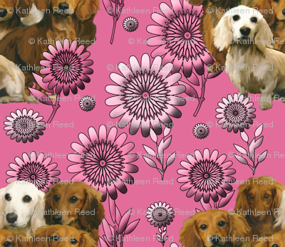 dachshunds and pink flowers