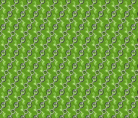 All Green swirls with bows and skulls fabric by grafiketgrafok on Spoonflower - custom fabric