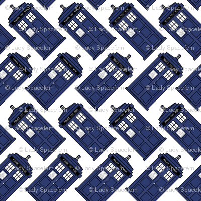 Doctor who diagonal tardis on white