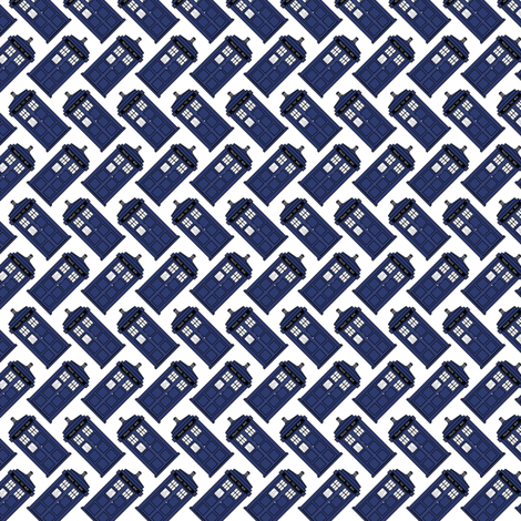 Doctor who diagonal tardis on white fabric by spacefem on Spoonflower - custom fabric