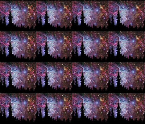 unicorn galaxy scene fabric by sewoeno on Spoonflower - custom fabric