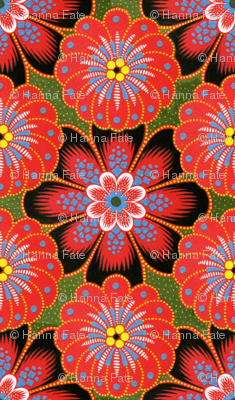 red tole painting flowers
