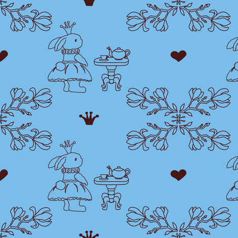 Bunny_princess_blue_fabric-ch-ch fabric by lcbstamps on Spoonflower - custom fabric
