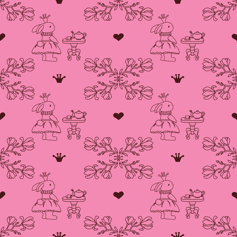 Bunny_princess_pink_fabric-ch fabric by lcbstamps on Spoonflower - custom fabric