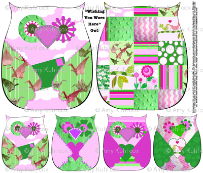 """""""Wishing You Were Here"""" Owls - Fat Quarter Collection of 5 owls"""