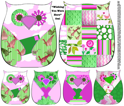 """""""Wishing You Were Here"""" Owls - Fat Quarter Collection of 5 owls fabric by amy_lou_who on Spoonflower - custom fabric"""
