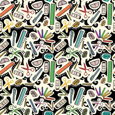 school supplies BLACK fabric by lusyspoon on Spoonflower - custom fabric