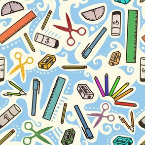 school supplies kids fabric wallpaper gift wrap