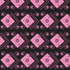 geometric_intricate_ black,pink, fuschia