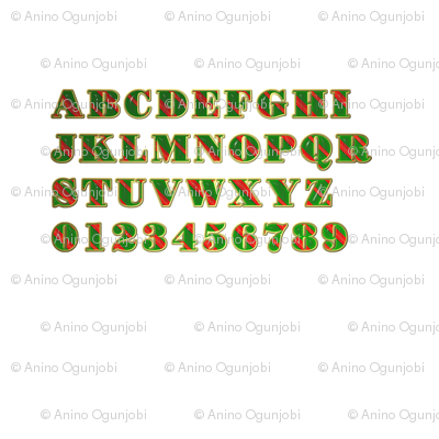 Stripy Alphabet :red, green, white