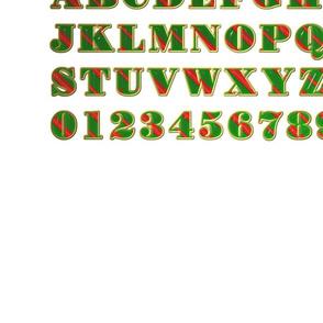 Stripy Alphabet :red, green, white