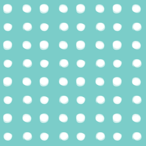 white polka dots on mint fabric by pencilmein on Spoonflower - custom fabric