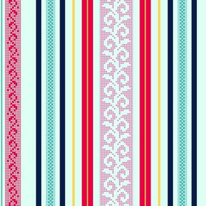 folk stripe - fuchsia