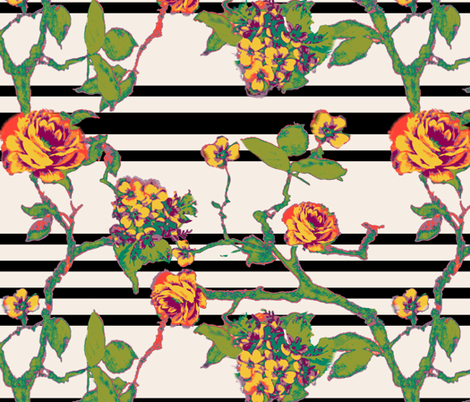 rose stripe - black fabric by cheyanne_sammons on Spoonflower - custom fabric