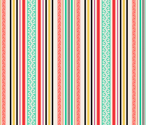 folk stripe - black fabric by cheyanne_sammons on Spoonflower - custom fabric