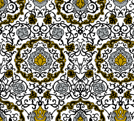 Eleonora Di Toledo - Gold / Silver Stylized fabric by bonnie_phantasm on Spoonflower - custom fabric