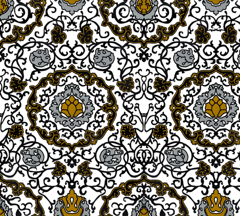Eleonora Di Toledo - Gold/Silver Velvet fabric by bonnie_phantasm on Spoonflower - custom fabric