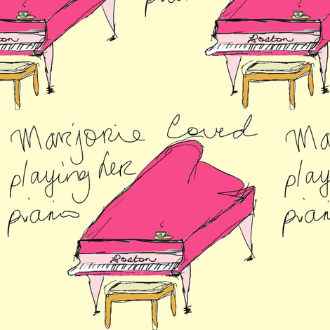 Marjorie_loved_Playing_the_Piano fabric by evelynrosedesigns on Spoonflower - custom fabric