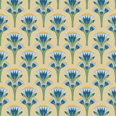 Blue lotus fabric by kirpa on Spoonflower - custom fabric