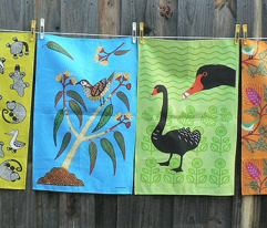 Blue Wattlebird Tea towel