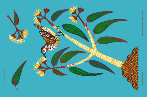 Blue Wattlebird Tea towel fabric by yellowstudio on Spoonflower - custom fabric