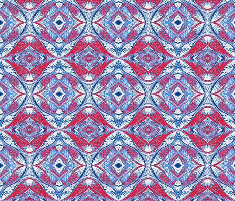 Pesky Mandala- Navy Salmon fabric by roly_poly_bat_faced_girl on Spoonflower - custom fabric