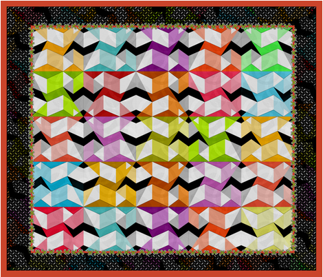 Stumbling Blocks Cheater Quilt fabric by glimmericks on Spoonflower - custom fabric
