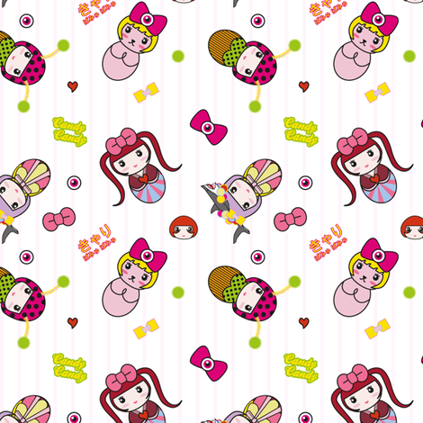 Kyary Kokeshi fabric by marcelinesmith on Spoonflower - custom fabric
