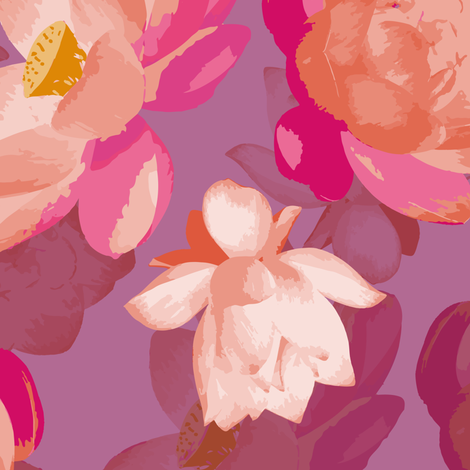 lotus blooms - parma violet fabric by fox&lark on Spoonflower - custom fabric
