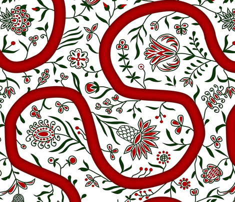 Rococo Meandering Ribbon and plants, c. 1726 fabric by bonnie_phantasm on Spoonflower - custom fabric