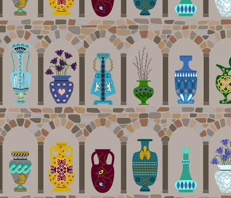 Vase and Urns fabric by loopy_canadian on Spoonflower - custom fabric