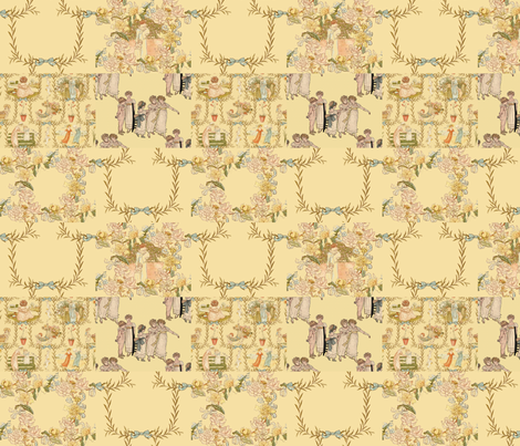 Kate Greenaway  ~ Language of the Flowers Cheater Quilt fabric by peacoquettedesigns on Spoonflower - custom fabric