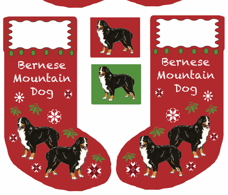 Bernese Mountain dog Cut and sew Christmas Stocing fabric by dogdaze_ on Spoonflower - custom fabric