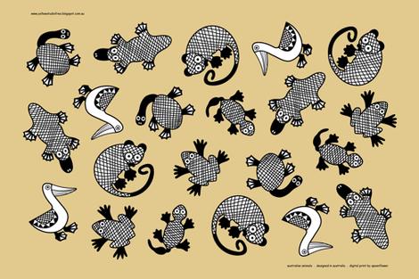Oz Animals tea towel fabric by yellowstudio on Spoonflower - custom fabric