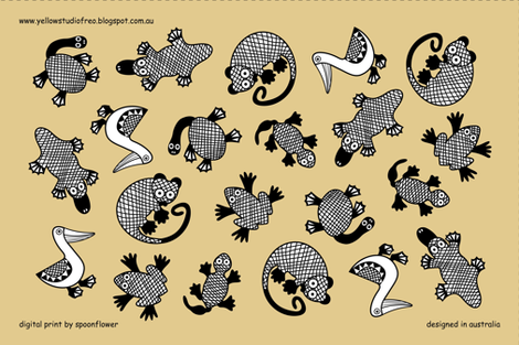 Oz Animals tea towel fabric by yellowstudio on Spoonflower - custom fabric