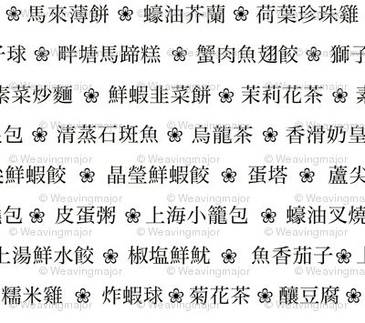 Chinese dim sum menu (B&W)