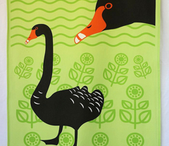 Black Swans tea towel