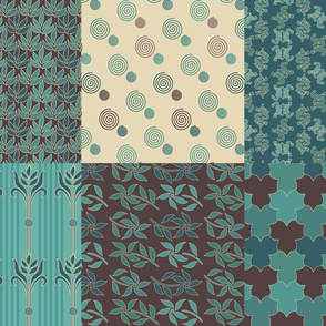 Decorator Collection Fabric1 - 36x54 - 18insqs - bluegreen & brown
