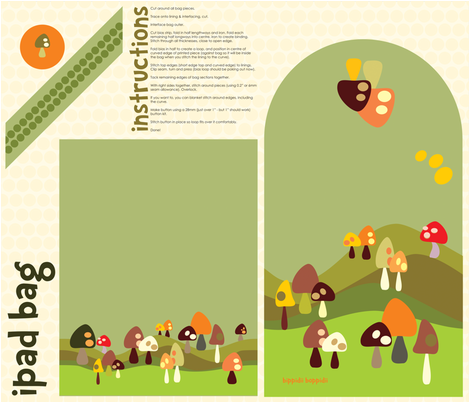 iPad/journal bag for mushroom lovers fabric by bippidiiboppidii on Spoonflower - custom fabric