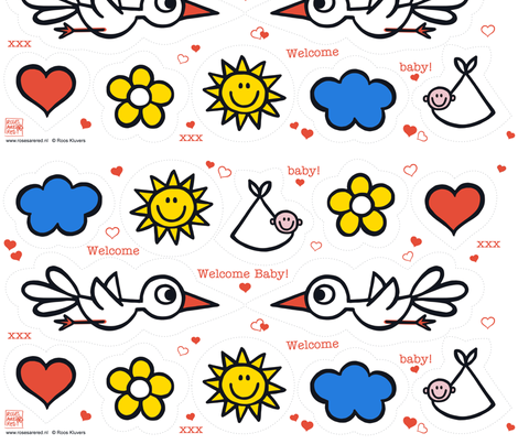welcome baby fabric by rosesarered on Spoonflower - custom fabric