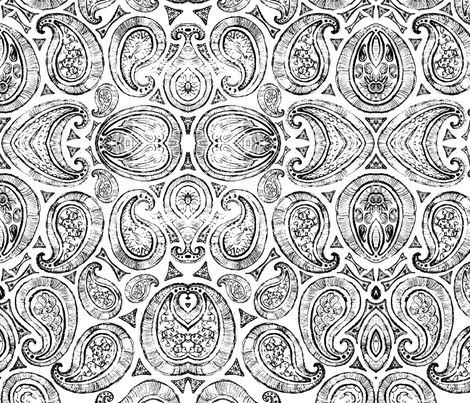 White_and_Black_Paisley fabric by european-skies on Spoonflower - custom fabric